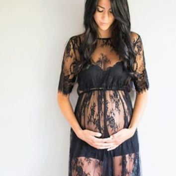 CCO11 Lace Maternity Dress Gown Photo Prop Clothing (Multiple Colors Available)