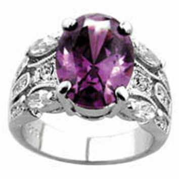 Oval Shape Cz Stone Sterling Silver Ring