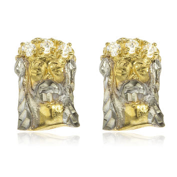 10k Yellow Gold Two Tone Jesus Head with Cz Stones Stud Earrings and a Silicone Back