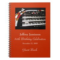 60th Birthday Party Guest Book, Antique Organ Notebook