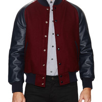 Slater and Sons by Golden Bear Men's Leather Varsity Jacket -