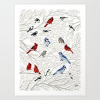 Winter Birds Art Print by Yuliya