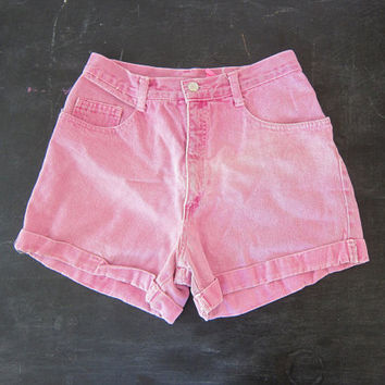 Faded PINK Denim Jean Shorts 80s Cuffed Denim Shorts Mom Jeans Preppy Hipster High Waist Denim Women's Size 9 28 inch waist Dell's
