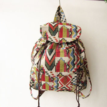 native american backpack, tribal rucksack, hippie bag, bohemian backpack,geometric hipster shoulder bag, zaino, african pattern bag