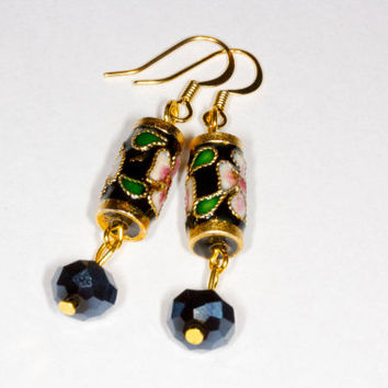 Black dangle cloisonne earrings