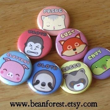Seven Adorable Sins (7 Deadly Sins) - pinback button badge