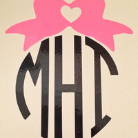 Circle Monogram with Bow Car Decal