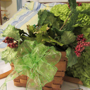 Vintage Amish Wall Basket with Holly, Pine, and Berries - Green Bow Accent