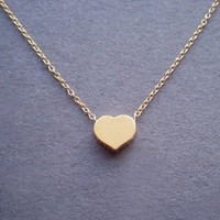 Fashion Gold Vermeil Heart Simple Heart Necklace