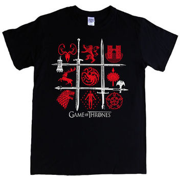 Season 4 GAME of THRONES Mens T-shirt battle of the houses stark, lannister, baratheon, bolton, martell, targaryen, frey, tyrell, greyjoy,