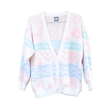 Pastel 80's Saved by the Bell Cardigan Sweater - Cosby Tribal Print - Size Large