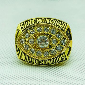 Drop shipping High Quality alloy 1981 San Francisco The 49ers Championship Rings set With Wooden BOX