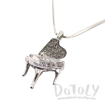 Miniature Piano Shaped Pendant Necklace in Silver for Music Lovers