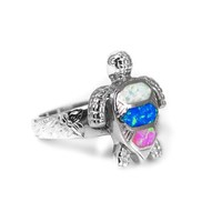 Sterling Silver Multi-Color Opal Sea Turtle Ring with Hawaiian Floral Band