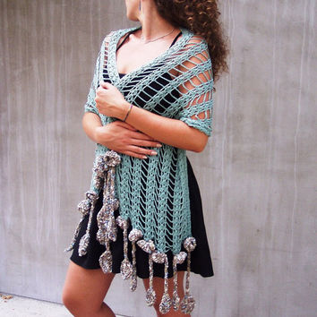 Crochet sea scarf, Crochet long scarf, Crochet lace scarf, Lace long scarf, Sea fringes scarf, Sea long scarf, Turquoise scarf, Rustic scarf