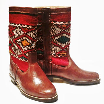 Boho Moroccan Kilim & Leather Caramel Brown Boots