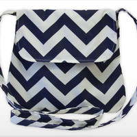 Chevron Medium Cross body Bag/ Messenger Bag/iPad Bag/ Navy Blue,Green Aqua,Red, Coral, Yellow or Gray and White. (Free Shipping)