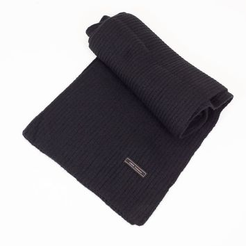 Cashmere Blended Ribbed Knit Scarf
