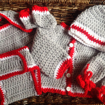 Crochet OSU Colors Newborn Baby Sweater Gift Set
