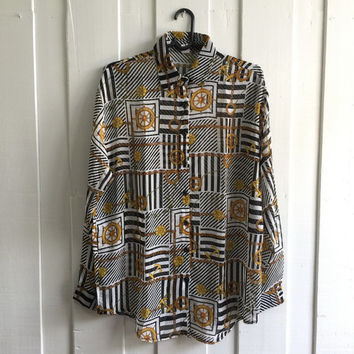 Uk size 18 -20/Vintage scarf Print baroque shirt ,ladies 's Over sized blouse/ black and white in background with gold anchors print