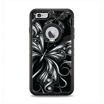 The Vibrant Black & Silver Butterfly Outline Apple iPhone 6 Plus Otterbox Defender Case Skin Set