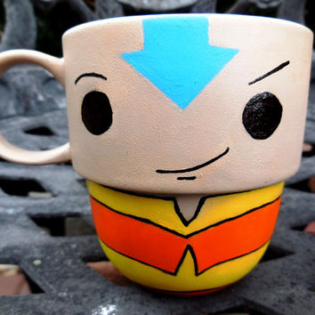 Aang from Avatar Hand Painted Stackable Mug