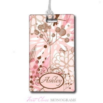 Soft Pink and Brown Floral Personalized Bag Tag