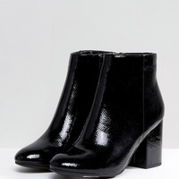 New Look Patent Round Toe Heeled Boot at asos.com
