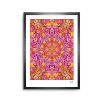 "Justyna Jaszke ""Mandala Pink Joy"" Pink Orange Abstract Pattern Digital Illustration Framed Art Print"