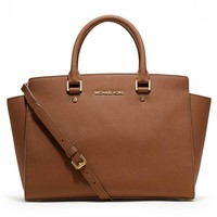 Michael Kors 30S3GLMS7L-230 Women's Selma Large Top Zip Luggage Saffiano Leather Satchel