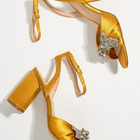 ALDO Embellished Mustard Heeled Sandals at asos.com