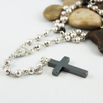 Silver Bead Rosary Necklace Religious Cross Jewelry