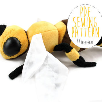 Bee Stuffed Animal Sewing Pattern DIY Sewing Tutorial