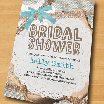 Bridal Shower invitation  Wedding Shower invitation burlap invitation Vintage Rustic Lace party Invitation Card Design Sackcloth - card 286