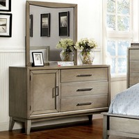Yarber Contemporary Multi-Storage Dresser and Mirror in Grey