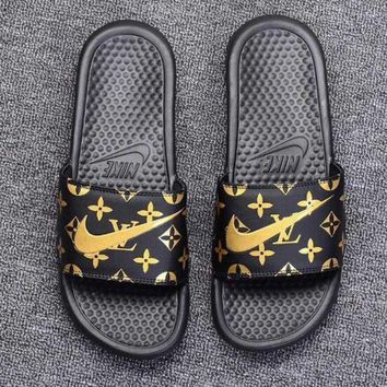 Nike X LV Benassi Swoosh Fashion Women Men Leisure Flat Slippers Sandals Shoe Black Yellow I-CSXY