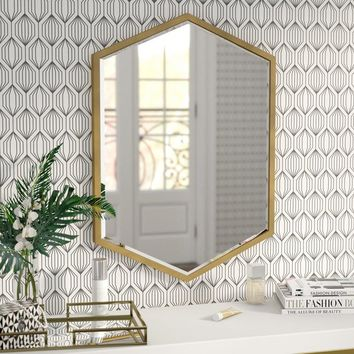 Modern Contemporary Hexagon Wall Mirror (Gold)