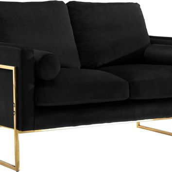 Mila Black Velvet Loveseat