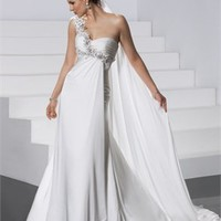 Enchanting One-shoulder Flower Sweetheart Empire Waist Chiffon Small Train Wedding Dress WD1967
