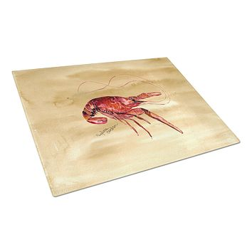Cooked Crawfish on Sandy Beach Glass Cutting Board