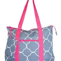 Ever Moda Pink Grey Moroccan Tote Bag X-Large 21-inch