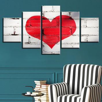 5 Piece Red LOVE Heart Graffiti Paintings Modular Living Room Sweet Poster Wall