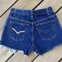 High Waisted Studded Levi's Shorts Size 6 by DenimAndStuds on Etsy