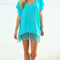 Seafolly Miami Sky Midi Kaftan in Seychelles - Buy this elegant aqua Beach Coverup at Coco Bay with Next Day Delivery and Free UK Returns/Exchanges