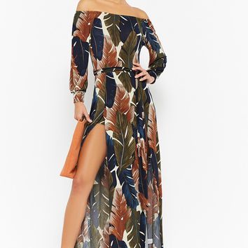 Print Leaf Off-the-Shoulder Maxi Dress