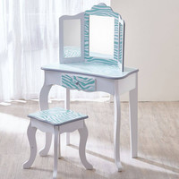Teamson Kids - Fashion Prints Vanity Table & Stool Set with Mirror - Zebra (Aqua Blue/ White)