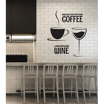 Vinyl Wall Decal Coffee Wine Quote Restaurant Kitchen Dining Room Stickers Mural (ig6089)