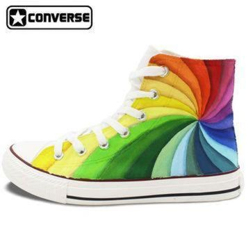ICIKGQ8 men womens converse all star hand painted shoes design colorful rainbow vortex canvas