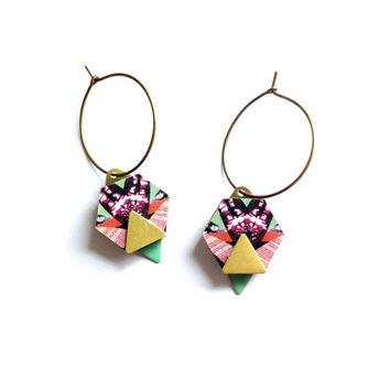 Geometric Hexagon & Triangle Earrings - Hex Hoop Earrings Hexagon Jewellery Geometric Hoop Earrings Laser Cut Geometric Dangle Earrings