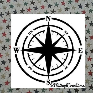 Compass Vinyl Decal | Compass Decal | Compass | Vinyl Decal | Hike | Hikers decal